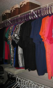 Closet with lower bar to seperate shirts and pants.